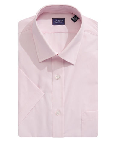 Arrow Classic-Fit Short Sleeve Solid Shirt-PINK-16.5
