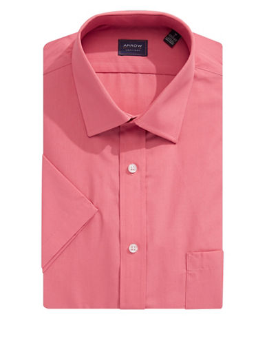 Arrow Classic-Fit Short Sleeve Solid Shirt-DARK PINK-16