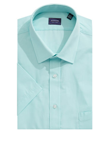 Arrow Classic-Fit Short Sleeve Solid Shirt-BLUE-15.5