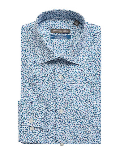 Geoffrey Beene Floral-Printed Broadcloth Sport Shirt-BLUE-18-34/35