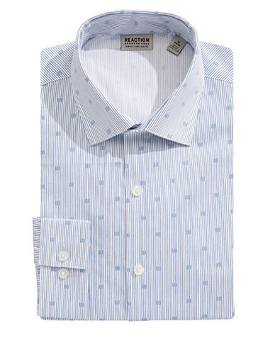 Kenneth Cole Reaction Slim-Fit Printed Flex Dress Shirt-BLUE-17.5-32/33