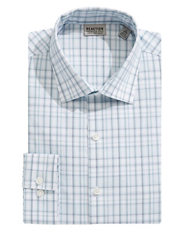 Kenneth Cole Reaction Slim-Fit Plaid Flex Dress Shirt-GREEN-18-34/35