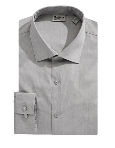 Kenneth Cole Reaction Slim-Fit Broadcloth Flex Dress Shirt-GREY-15.5-32/33