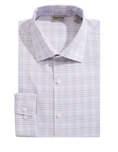 Kenneth Cole Reaction Slim-Fit Plaid Flex Dress Shirt-PURPLE-17.5-32/33