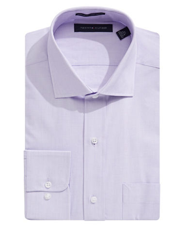 Tommy Hilfiger Regular-Fit Grid Check Dress Shirt-PURPLE-16.5-32/33