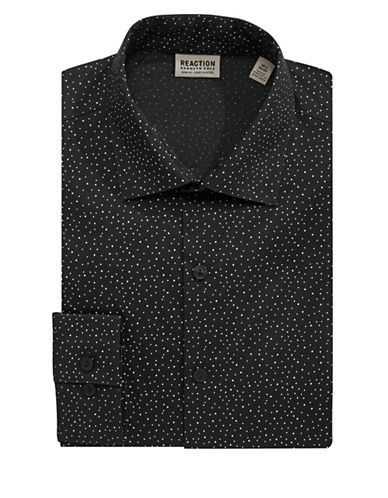 Kenneth Cole Reaction Techni-Cole Dotted Dress Shirt-BLACK-17.5-32/33