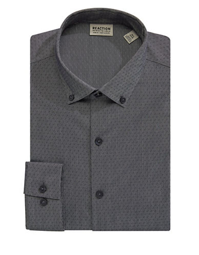 Kenneth Cole Reaction Techni-Cole Patterned Dress Shirt-BLACK-17.5-34/35
