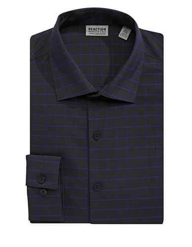 Kenneth Cole Reaction Techni-Cole Grid Dress Shirt-BLUE-16.5-34/35