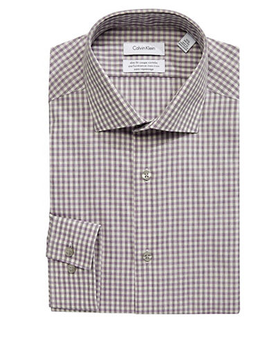 Calvin Klein Steel Slim-Fit Checkered Dress Shirt-PURPLE-18.5-34/35