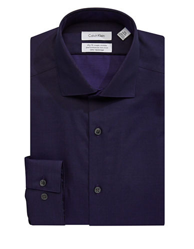 Calvin Klein Steel Slim-Fit Non-Iron Dress Shirt-PURPLE-17.5-34/35
