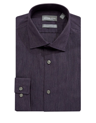 Michael Michael Kors Slim-Fit Denim-Look Shirt-PURPLE-17.5-32/33