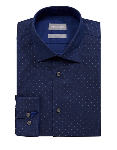 Michael Michael Kors Slim Fit Spot Print Shirt-DARK BLUE-17-34/35