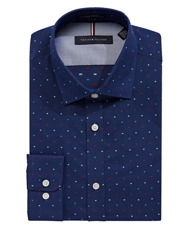 Tommy Hilfiger Slim Broadcloth Spot Shirt-NAVY-15.5-32/33