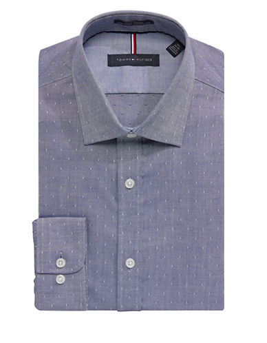 Tommy Hilfiger Slim-Fit Non-Iron Dot Dress Shirt-BLUE-18.5-34/35