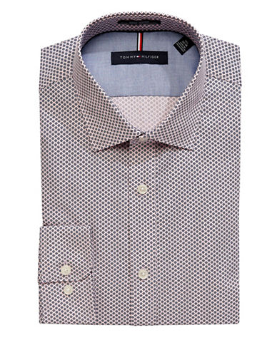 Tommy Hilfiger Slim-Fit Printed Non-Iron Dress Shirt-PINK-17-32/33