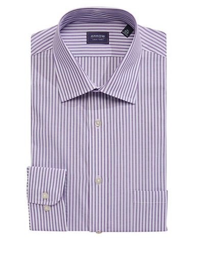 Arrow Regular Fit Striped Dress Shirt-PURPLE-18.5-34/35