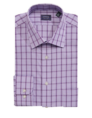 Arrow Regular Fit Check Dress Shirt-PURPLE-16-34/35