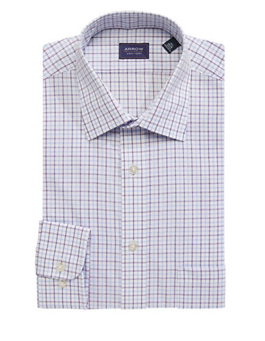Arrow Regular Fit Plaid Dress Shirt-PURPLE-18.5-34/35