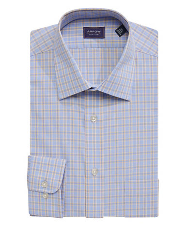 Arrow Regular Fit Plaid Dress Shirt-BLUE-16-32/33