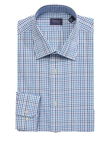 Arrow Regular Fit Plaid Dress Shirt-GREEN-17.5-32/33