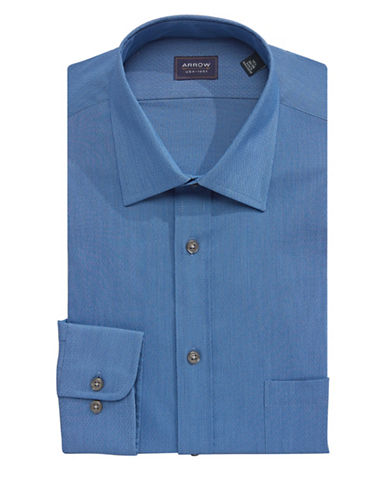 Arrow Regular-Fit Patterned Dress Shirt-BLUE-17-32/33