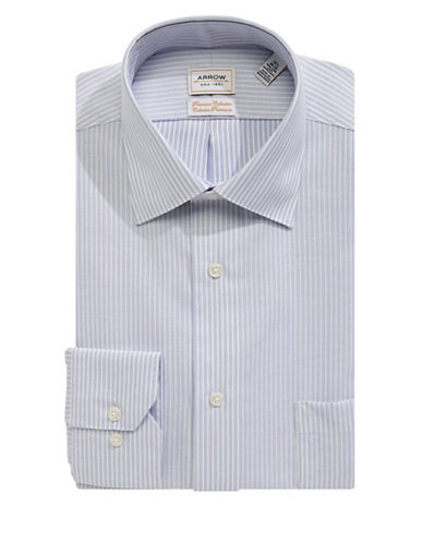 Arrow Non-Iron Striped Classic Fit Dress Shirt-BLUE-17-32/33