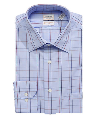 Arrow Classic Fit Non-Iron Grid Print Dress Shirt-BLUE-16.5-32/33