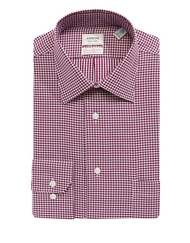 Arrow Classic Fit Non-Iron Gingham Dress Shirt-RED-16.5-34/35