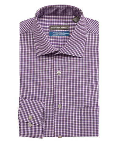 Geoffrey Beene Go Checkered Dress Shirt-PURPLE-14.5-32/33