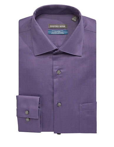 Geoffrey Beene Go Textured Dress Shirt-PURPLE-17-32/33