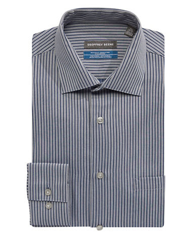 Geoffrey Beene Go Striped Dress Shirt-BLUE-15-32/33