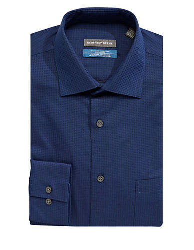 Geoffrey Beene Cotton-Blend Dress Shirt-BLUE-15-32/33