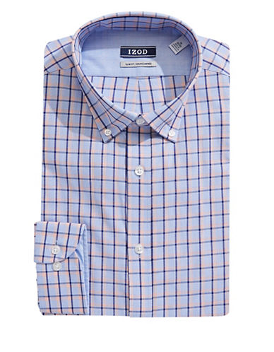 Izod Slim Fit Grid Dress Shirt-ORANGE-17.5-34/35