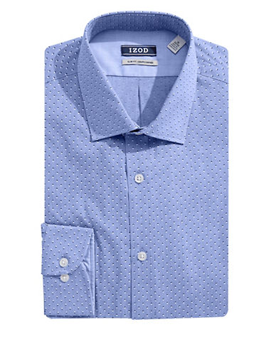 Izod Slim Fit Shadow Dot Dress Shirt-BLUE-14.5-32/33