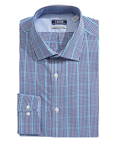 Izod Slim Fit Micro Plaid Dress Shirt-BLUE-14.5-32/33