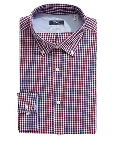 Izod Slim Fit Micro Grid Dress Shirt-RED-17.5-32/33