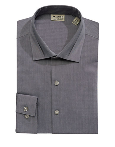 Kenneth Cole Reaction Techni-Cole Slim-Fit Flex Dress Shirt-GREY-15-32/33