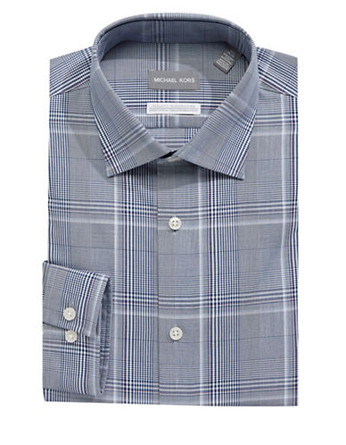 Michael Michael Kors Cotton Plaid Dress Shirt-BLUE-17.5-32/33