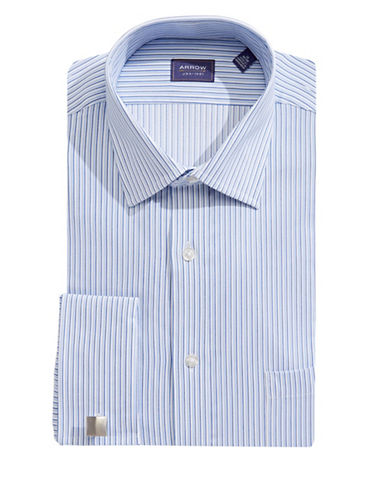 Arrow Classic Fit Pinstripe Dress Shirt-BLUE-17-32/33