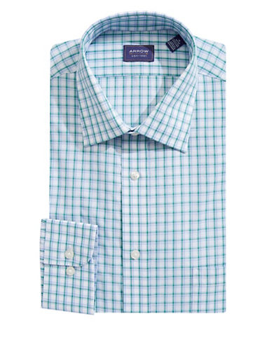 Arrow Classic Fit Plaid Dress Shirt-GREEN-18-34/35