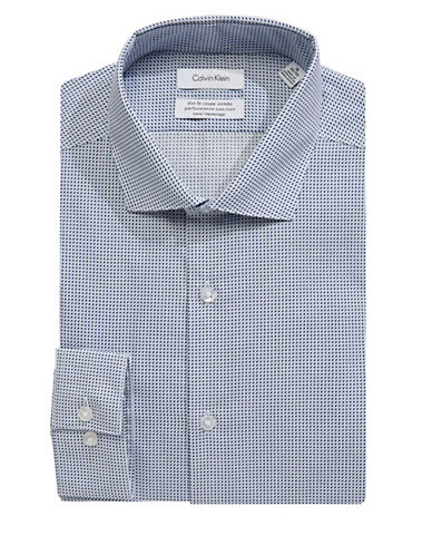 Calvin Klein Steel Slim-Fit Cotton Dress Shirt-BLUE-16.5-34/35