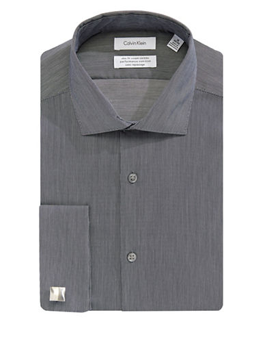 Calvin Klein Slim Cotton Broadcloth Dress Shirt-GREY-15.5-32/33