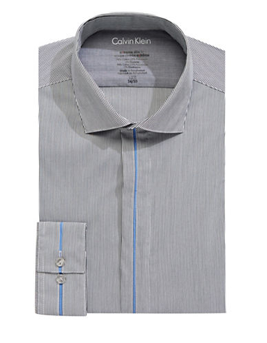 Calvin Klein Slim-Fit Striped Dress Shirt-GREY-17-32/33