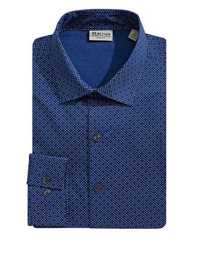 Kenneth Cole Reaction Slim Fit Geometric Dress Shirt-BLUE-16-34/35
