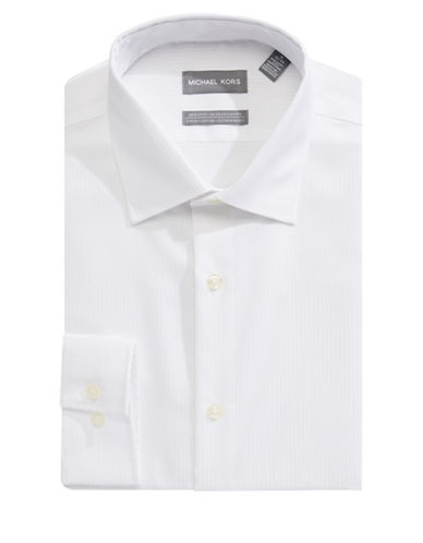 Michael Michael Kors Slim-Fit Cotton Dress Shirt-WHITE-15.5-32/33
