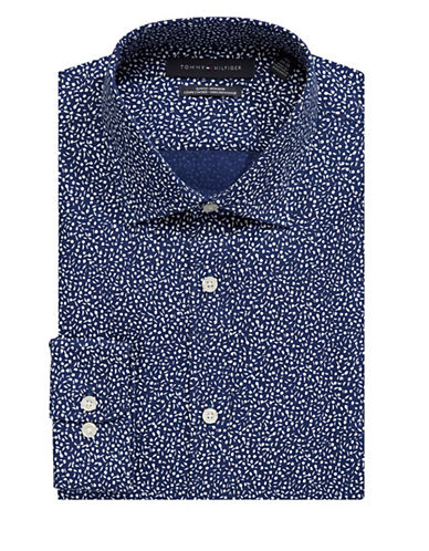 Tommy Hilfiger Abstract Printed Dress Shirt-BLUE-16.5-34/35