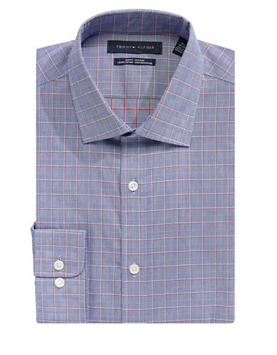 Tommy Hilfiger Plaid Print Cotton Dress Shirt-BLUE-16-34/35
