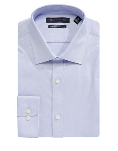 Tommy Hilfiger Slim Fit Neat Dot Dress Shirt-BLUE-18-34/35