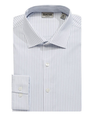 Kenneth Cole Reaction Striped Cotton-Blend Dress Shirt-BLUE-17-34/35