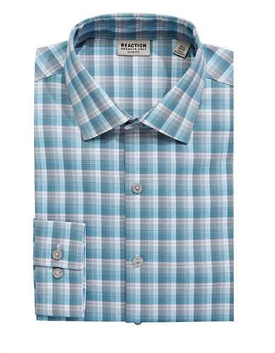 Kenneth Cole Reaction Slim-Fit Plaid Dress Shirt-BLUE-18.5-34/35